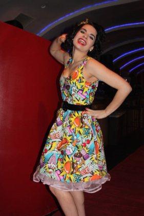 Model in flowered dress