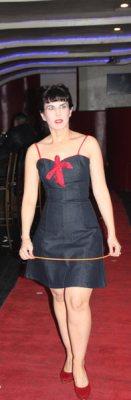 Model in cocktail dress