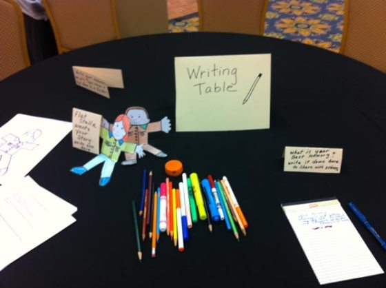 Writing table with pens