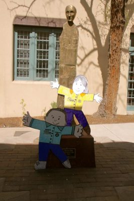 Flat Stanley and Flat Stella by tree