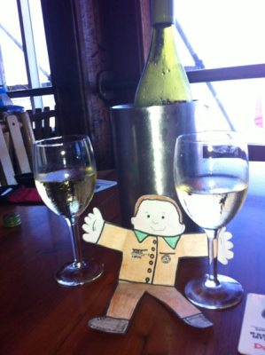 Flat Stanley with wine glasses