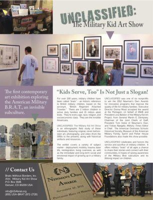 Page 1 Article entitled Unclassified: The Military Kid Art Show