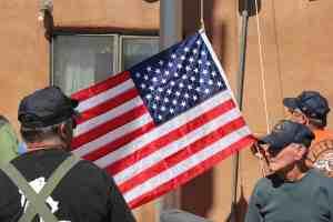 Raising flag