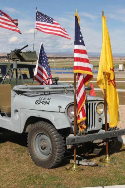 Military vehicle with flags at Salute to Heroes Veterans Day Celebration 2014