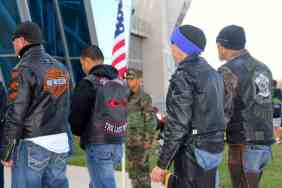 Motorcyclists in jackets entering Salute to Heroes Veterans Day Celebration 2014