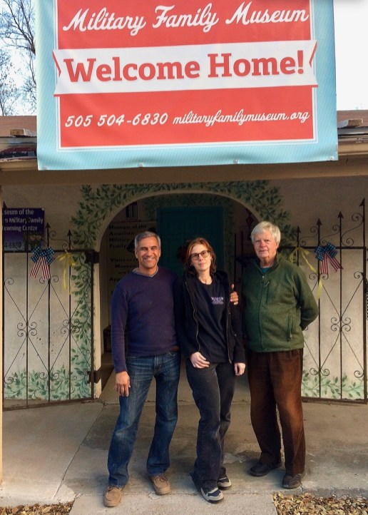 Director Circe Olson Woessner, Phil Pohl, Special Projects Manager and Allen Dale Olson Secretary/Public Affairs in front of the Museum in Tijeras
