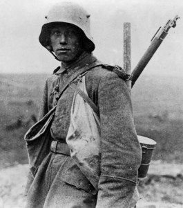 A German infantryman in one of the new steel helmets issued in 1916. (Image source: WikiCommons)