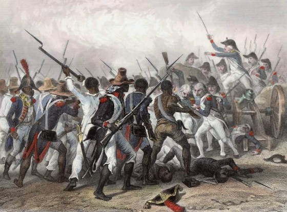 Former slaves on Hispaniola do battle with the French army. The uprising led to the founding of the modern nation of Haiti.