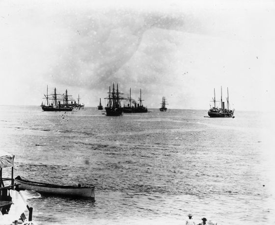 A shot of the standoff in Apia harbour, Samoa 1899. (Image source: WikiCommons)