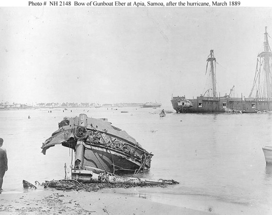 Wreckage of the ships involved in the Samoan Crisis of 1889.