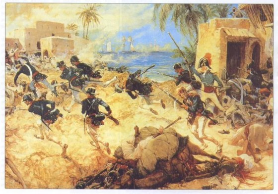 U.S. Marines storm Tripoli during the First Barbary War.