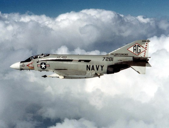 The two-seat, twin-engine F-4 Phantom was the U.S. Navy's principle fighter bomber during the Second World War. (Image source: WikiCommons)