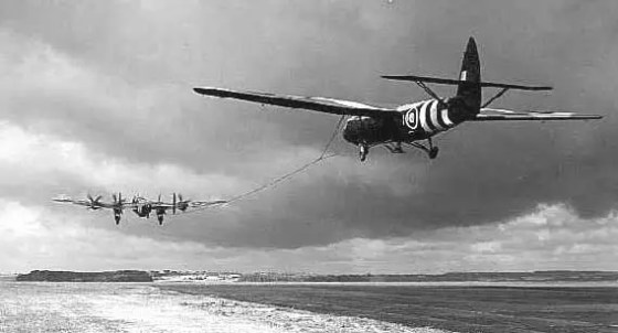 A British Horsa glider could carry more than twice the number of troops as a Waco.