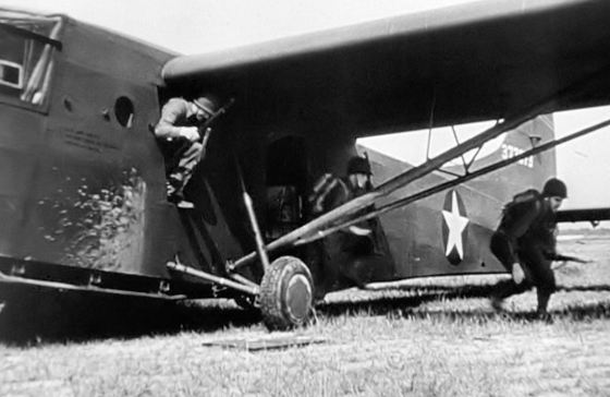 U.S. troops disembark from a glider.