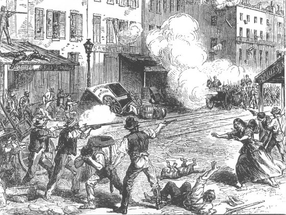 Violence erupts in the streets of New York as anti-conscription rioters, clash with federal troops.