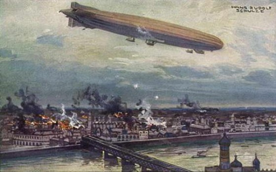 Within months of the war's outbreak Germany was conducting strategic bombing with its Zeppelins. (Image source: WikiCommons)