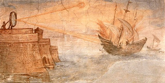 Did the Greek defenders of Syracuse focus the sun's energy and use it to burn Roman warships?