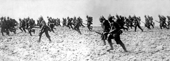 German troops advance across No Man's Land in 1915.