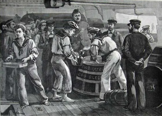 "A typical Royal Navy ""rum line""."