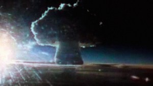A photo of the 64-km high  mushroom cloud from the  Tsar Bomba blast. The plume extended beyond the edge of Earth's stratosphere.
