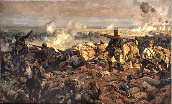 Canadian troops at the Second Battle of Ypres, 1915. A painting by Richard Jack.