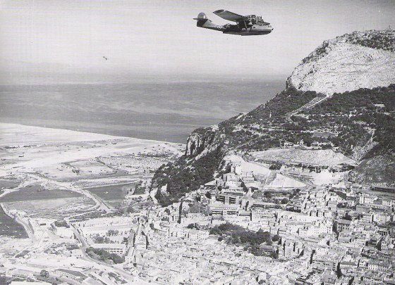 A British PBY Catalina flies over the Rock. (Image source: WikiCommons)