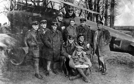 """Manfred Von Richthofen and the fliers of his Jasta 11. The famous """"Red Baron"""" appears in the cockpit."""