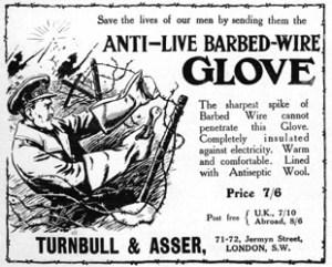 An ad for barbed-wire proof gloves.