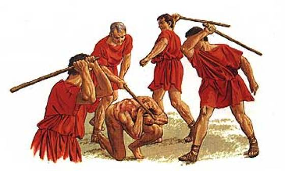 A lethal beating in the Roman Legion was called a 'fustuarium'.