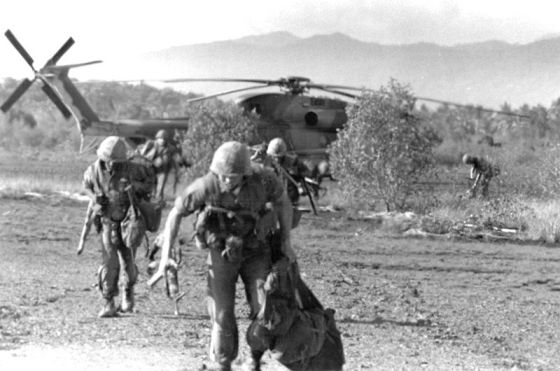 American troops under heavy fire, Koh Tang, Cambodia, May 15, 1975.