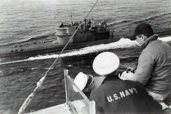 U-234 shortly after surrendering to the USS Sutton. (Image source: WikiCommons)
