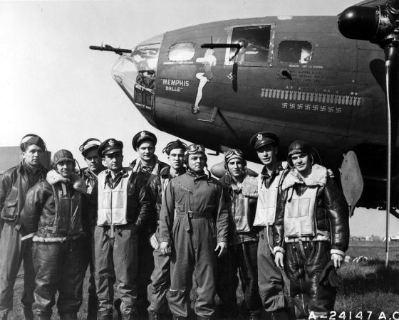 The original Memphis Belle, pictured here with her crew, is being restored at the National Air Force Museum in Dayton Ohio.