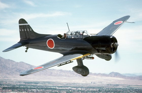 "An Aichi D3A ""Val"" dive bomber with Japanese markings."