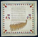 "A soldier's handkerchief embroidered with the lyrics to ""It's a Long Way to Tipperary."""