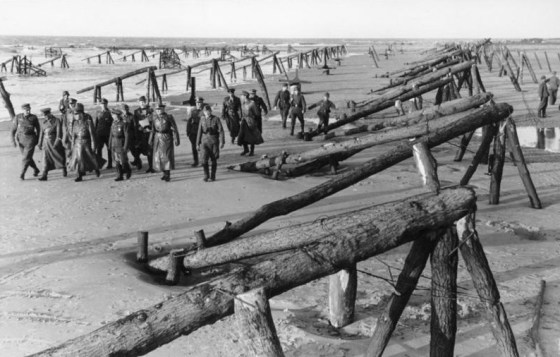 Rommel tours the Atlantic wall. He harboured grave doubts as to the effectiveness of the fortifications.
