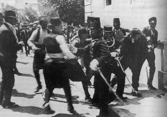 Gabrilo Princip is arrested just seconds after shooting the Archduke Ferdinand and the Duchess Sofia -- June, 28, 1914.
