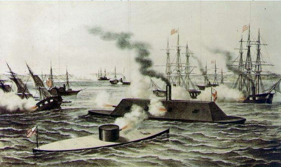 The March, 1862 Battle of Hampton Roads marked the first clash between iron warships.