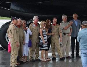CWHM officials, air crew and their families moments before take off. Aug. 5, 2014, Hamilton, Ontario.