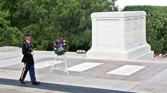 Unidentified remains of soldiers from all of America's 20th Century wars lie within the Tomb of the Unknowns at Arlington National Cemetery.