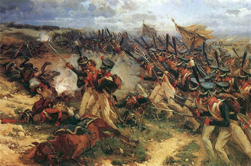 Les troupes russes chargent à travers le champ à Borodino. La bataille de 1812 pour Moscou est peut-être la bataille d'un jour la plus sanglante de toute l'histoire de l'humanité.