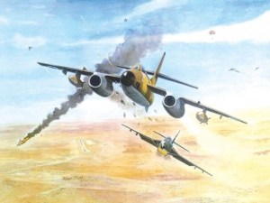 A painting by the artist Rehan Siraj of the Saiful Azam of the Pakistani Air Force shooting down an Israeli bomber over Iraq in 1967.