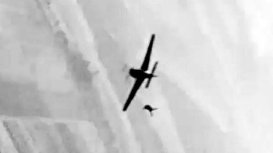 A German pilot bails out of a Focke Wulfe 190 somewhere over Western Europe. (Image source: Youtube.com)
