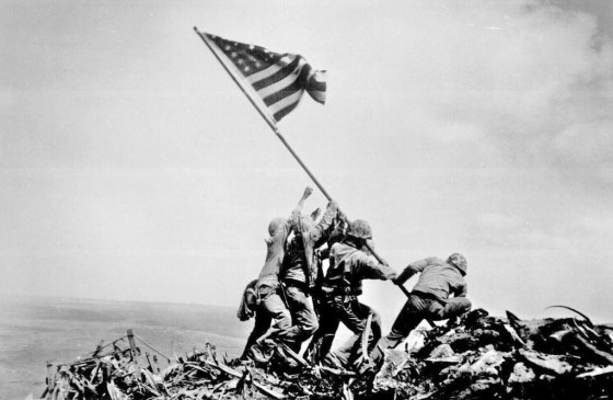 Joe Rosenthal's iconic photo of the flag raising on Iwo Jima. (Fair Use)