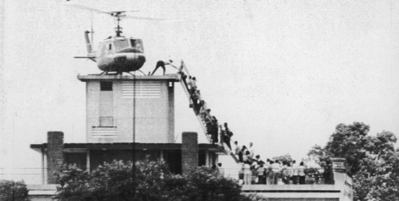One of the last images of America's involvement in Vietnam -- the evacuation of Saigon. (Source: Hugh Van Es, UPI)