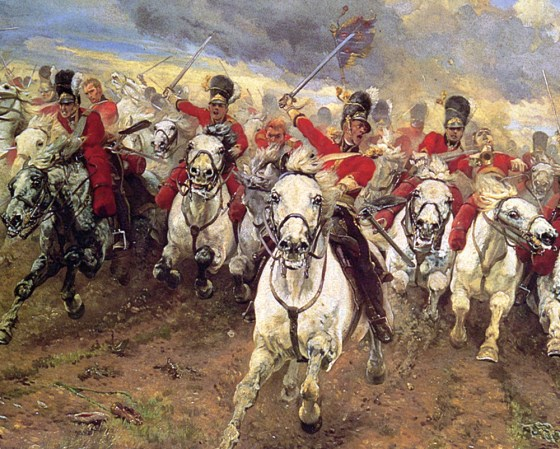 Lady Elizabeth Butler's stirring depiction of the charge of the Royal Scots Greys at Waterloo. This year marks the landmark battle's 200th anniversary. (Source WikiCommons Media)