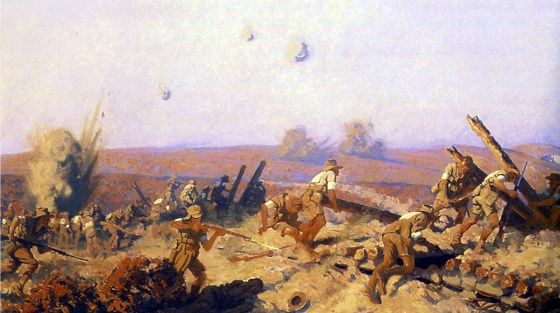 Painter Fred Leist's depiction of the Gallipoli Campaign, 1915. (Source: WikiCommons Media)