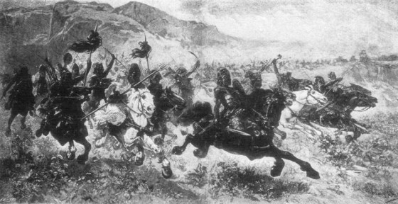 A 19th Century engraving of Hun warriors.