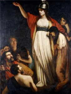 "A romanticized depiction of Boudica. Tacitus described her as having ""tawny hair... a harsh voice and a piercing glare."" (Image source: WikiCommons)"