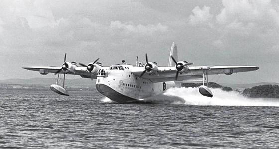 Allied flying boats like this Short Sunderland were based at a lakeside Irish castle. (Image source: WikiCommons.)