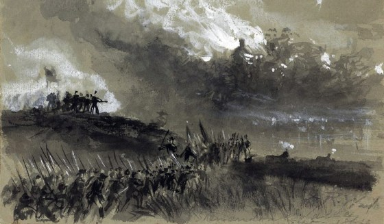 The most dramatic forgotten atrocity in the Civil War occurred 150 years ago when Union Gen. Philip Sheridan laid waste to a hundred mile swath of the Shenandoah Valley. (Sketch by Alfred Waud)